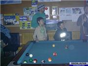 Little Kraut (L) and little Fjef (R) get billiard instructions at the SJF party in the Tracks Bar., uploaded by Kraut_in_HongKong  [Hakuba Happo-one, Hakuba Village, Nagano]