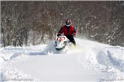 A friend on a sled in the powder, uploaded by Minakami photos  [Minakami Kogen Ski Resort, Minakami Town, Gunma]